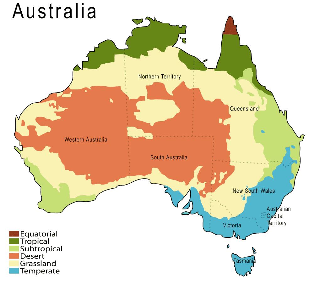 australia is situated in the southern hemisphere so it has summer when we have winter and vice versa it s climate varies from the warm to subtropical
