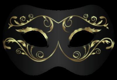 Máscara Carnaval PNG - Simples black gold