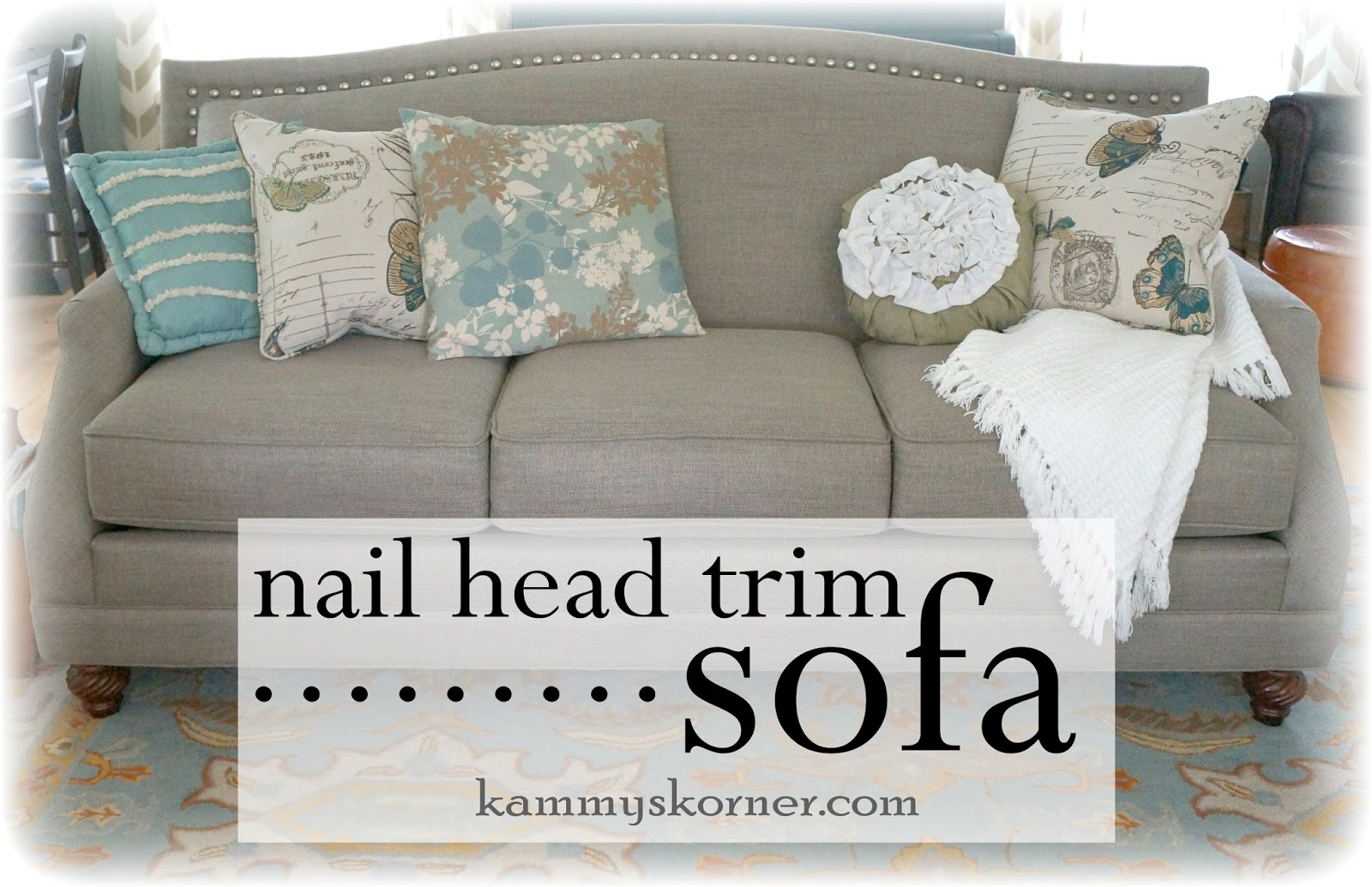 My New Nail Head Trim Sofa!