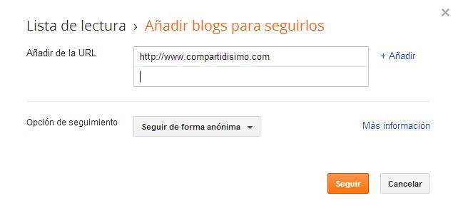 Opciones de configuracion de la lista de lectura de blogger