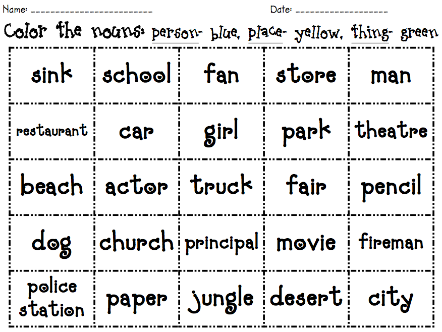 Nouns Worksheet Grade 1 Scalien – Noun Worksheets for Kindergarten