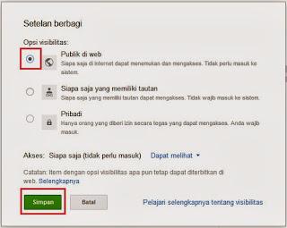 Menyetel Setelan Berbagi Menjadi Publik di web pada Google Drive