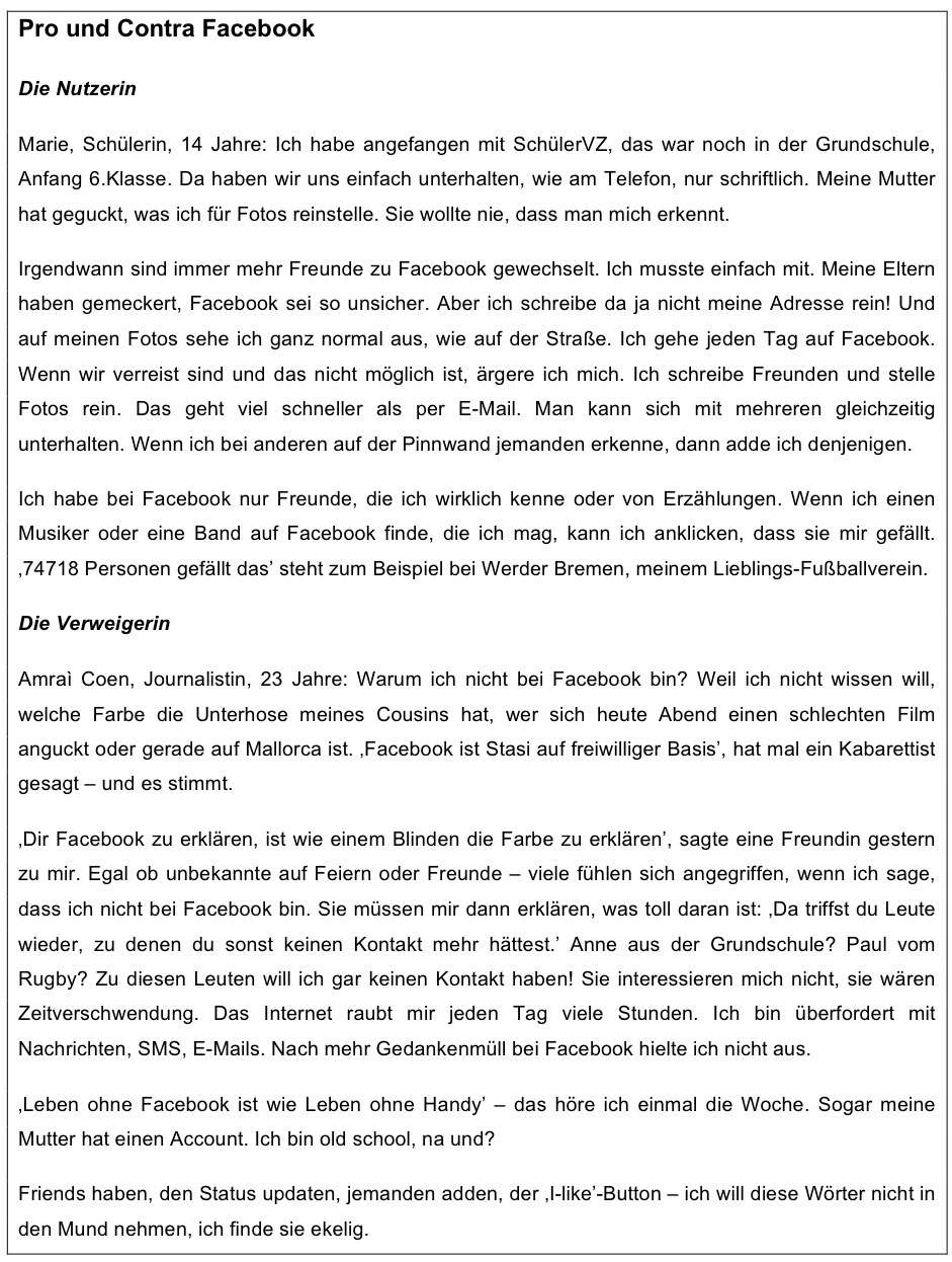 Facebook im Unterricht: Ein Blick auf Chancen und Risiken | Schule ...