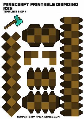 Minecraft diamond axe template 3 of 4