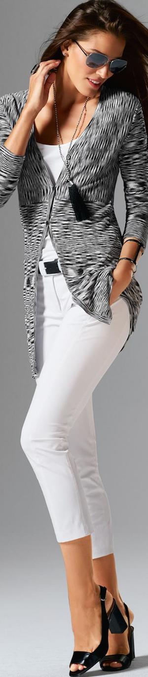 Madeleine Cardigan in Wool White/Black