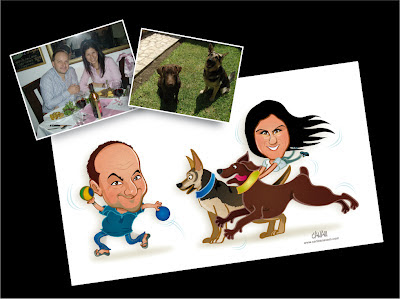 caricatura de pareja y mascota