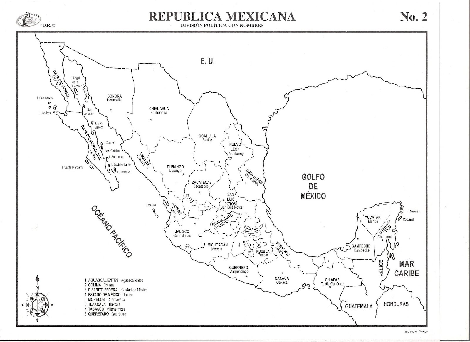 Mapa De La Republica Mexicana