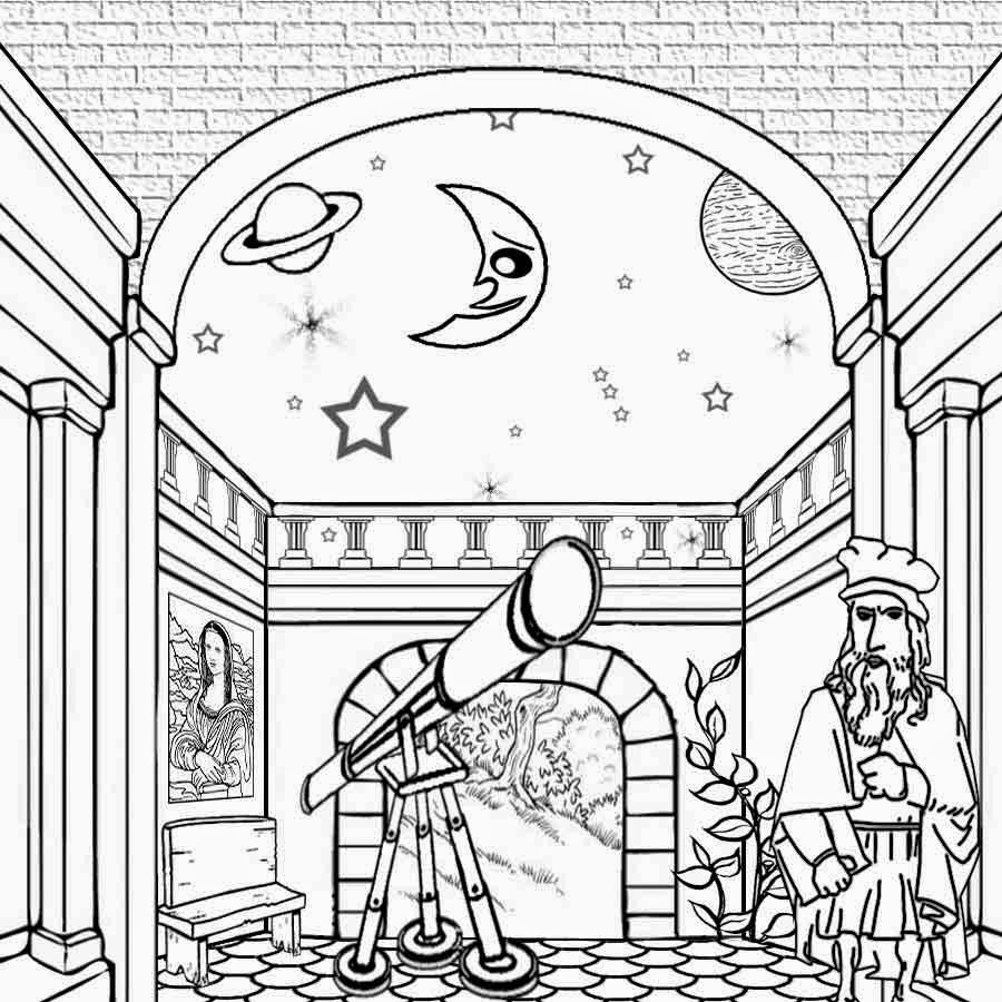 Colouring sheets of the lunar eclipse - Galileo Galilei Solar System Astronomer Telescope See The Moon And Stars Activities Crafts For Kids