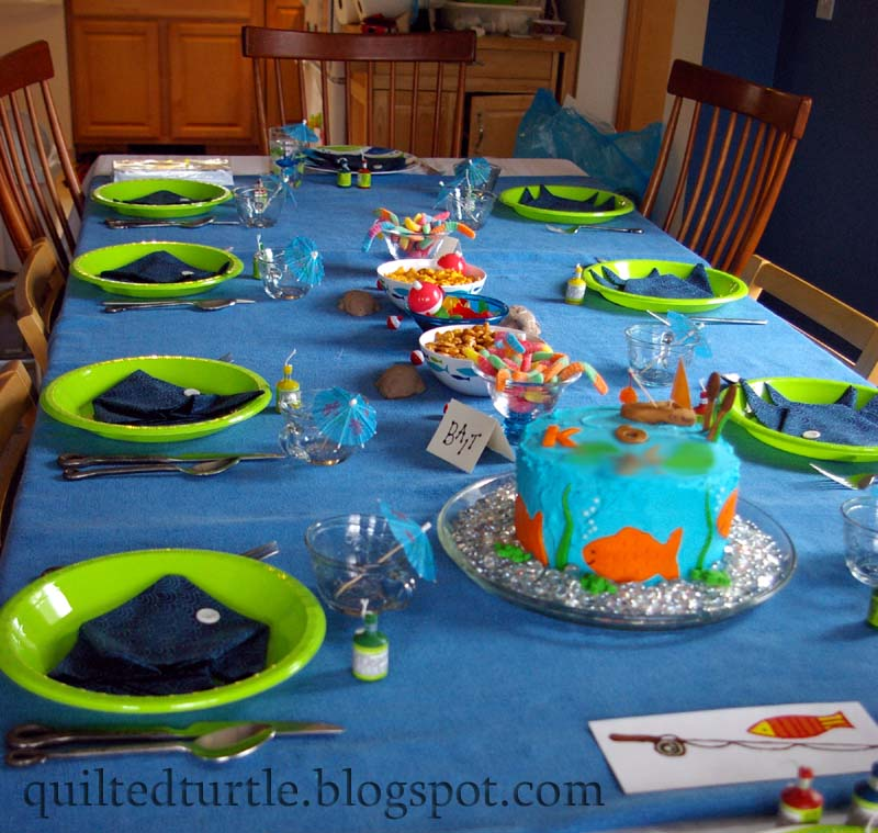 The quilted turtle fishing for a party for Fishing birthday party