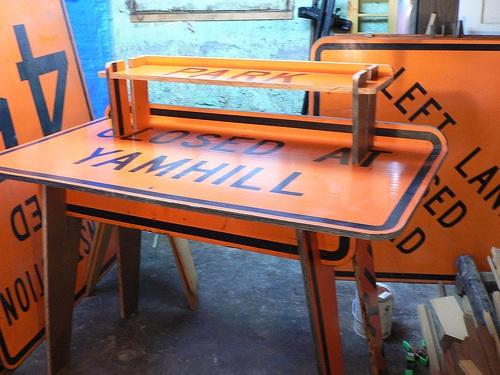 Relaxshackscom A FEW Recycled Road Sign Metal Furnituretables - Road sign furniture