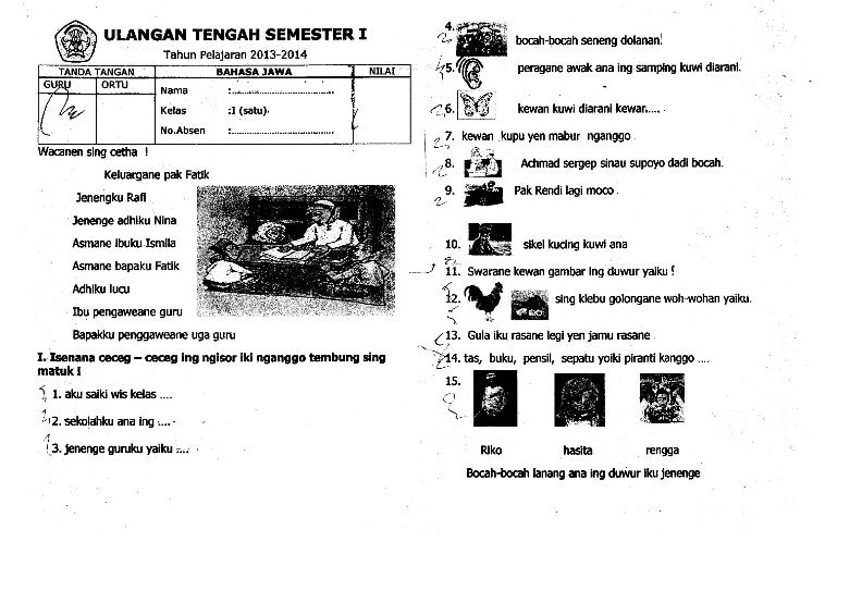 Contoh Soal Uts Bahasa Jawa Kelas 1 Semester 1 Kurikulum 2013