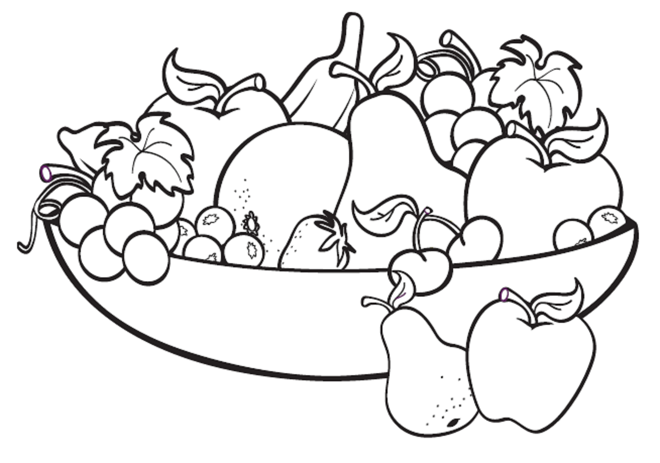Colours drawing wallpaper fruit basket pictures for kids for Coloring pages fruits and vegetables