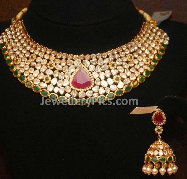 cabochon rubies polki necklace with jumkhas