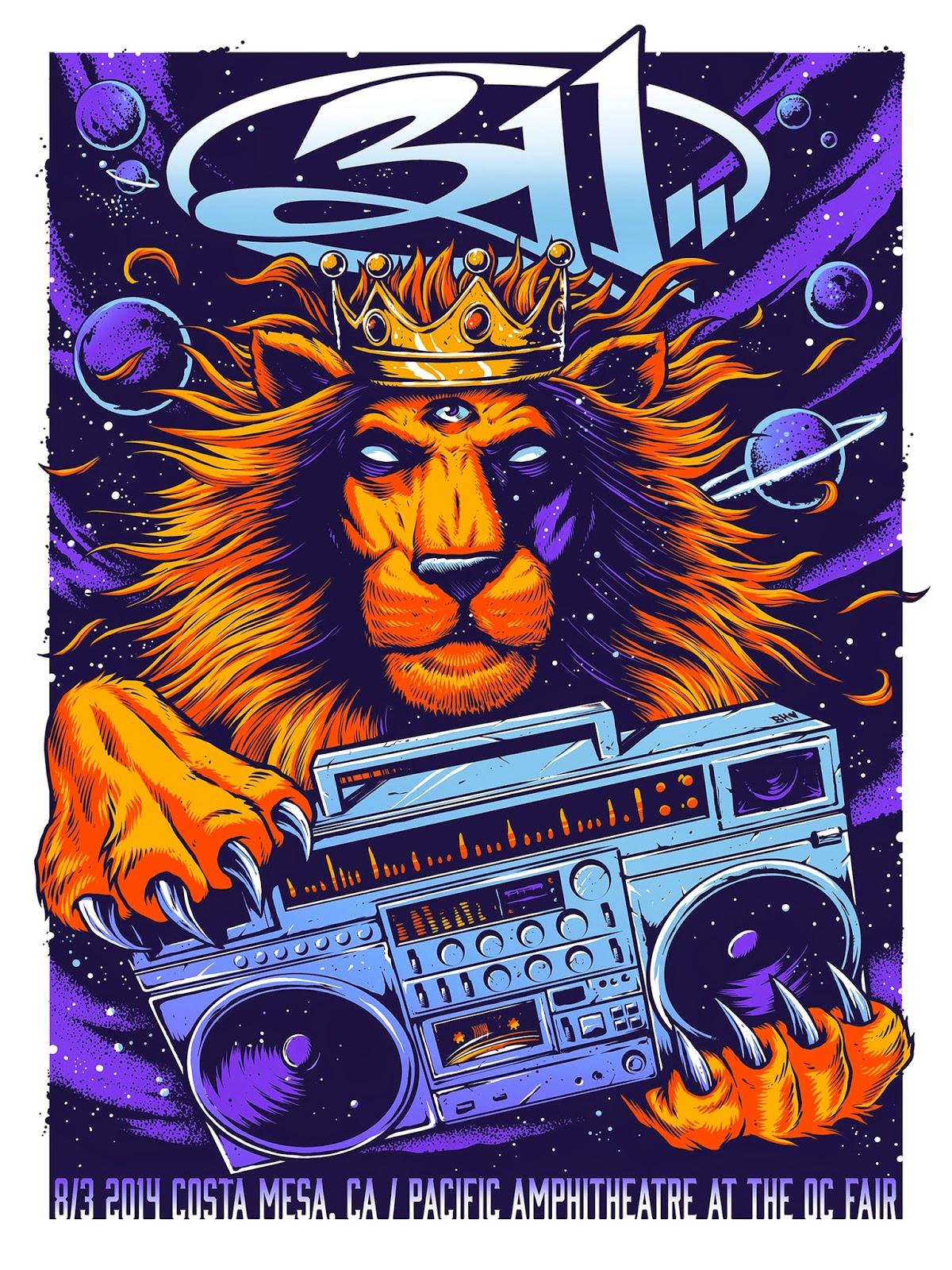 INSIDE THE ROCK POSTER FRAME BLOG: 311 Costa Mesa Poster by Brandon ...
