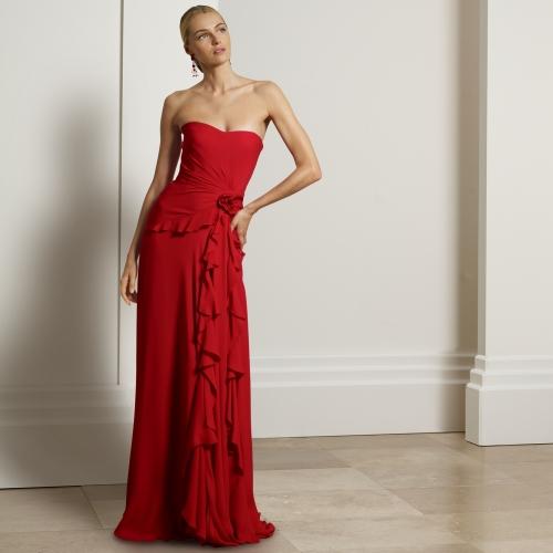 kırmızı abiye, kırmızı gece elbisesi, uzun elbise, uzun abiye, straplez abiye, straplez elbise