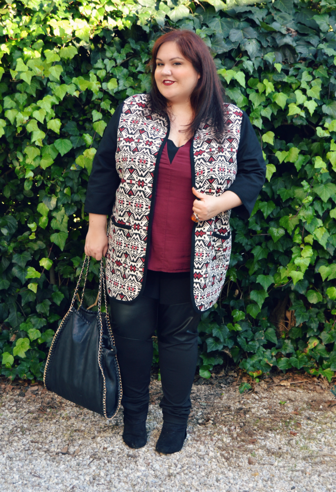 outfit plus size cardigan con stampa etnica e leggings con inserto similpelle curvyglam ovs review