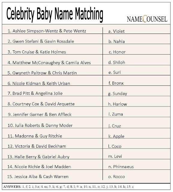 baby name matching