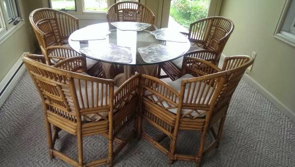 In Addition To This Table And Chairs And Console Below, More Wicker  Furniture.