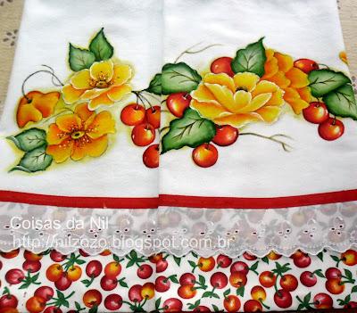 """""""cerejas e papoulas pintadas em kit de panos de copa"""""""