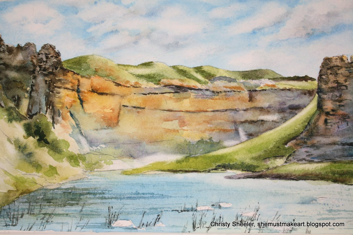 She Must Make Art Rock City Canyon And Riverscape Watercolor