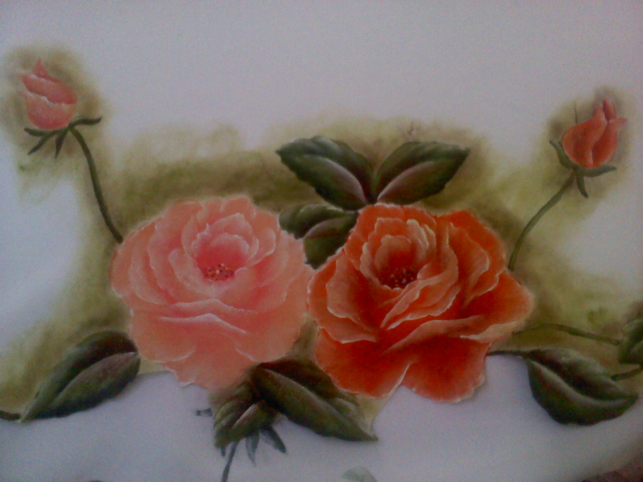 Pinturas en tela y cuadros hermoso mantel de rosas - Como pintar telas a mano ...