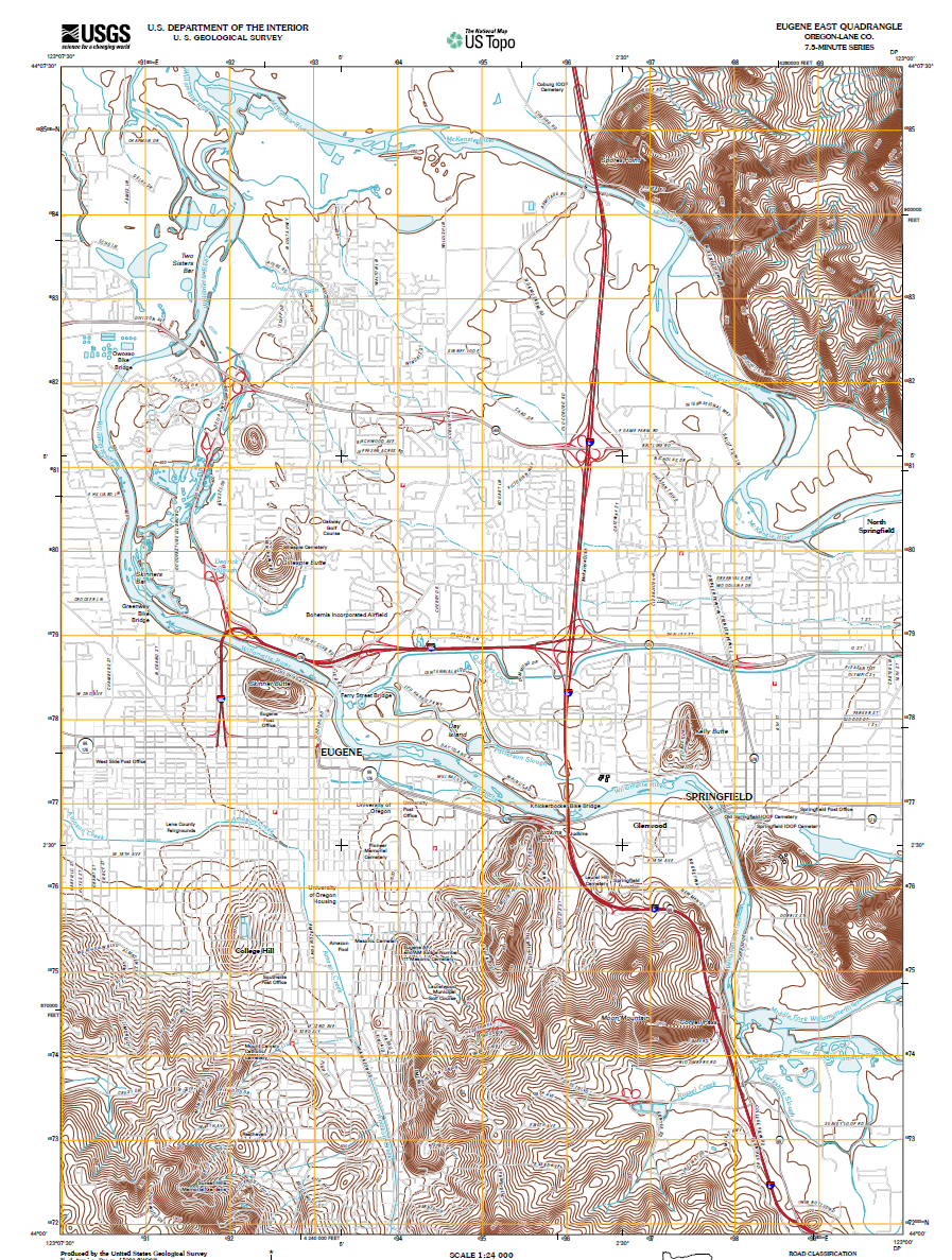 image credit usgs topo project store usgs gov click for full size shown within this topographic map of eugene it is evident eugene sits at the bottom
