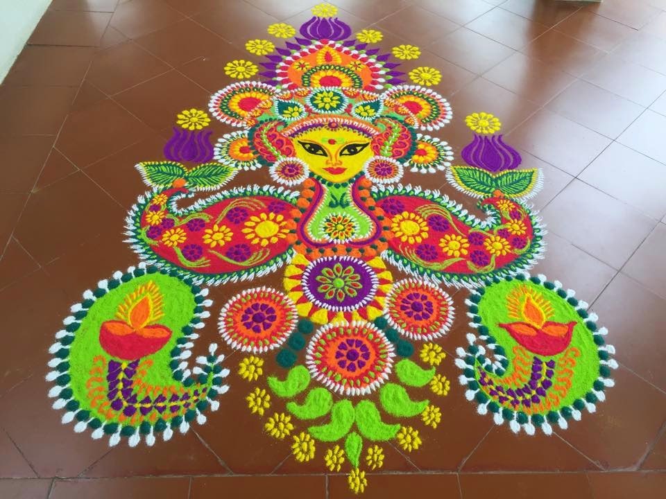 Lotus Flower Rangoli. 56 Attractive Indian Rangoli Designs for Diwali Festival