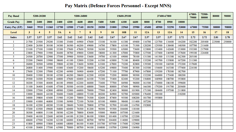 Pay-Matrix-Defence-Forces-Personnel