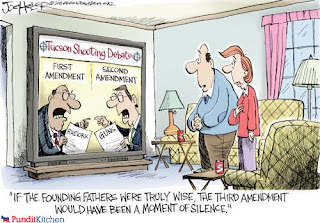 Cartoon: moment of silence after first 2 amendments
