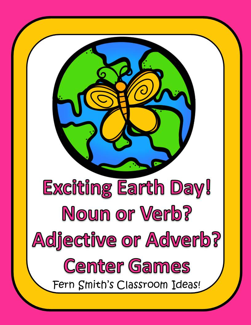 Earth Day - Noun or Verb? Adjective or Adverb? An Exciting Earth Day Mega Pack of Task Cards, Center Game, Printables and Interactive Notebook Activities