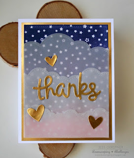 Gold Foil Thanks Card by Jess Crafts for Lawnscaping Sparkle and Shine Challenge featuring Lawn Fawn Thanks, Heart and Puffy Cloud Dies