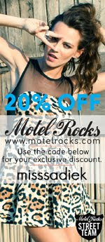 Use my unique discount code for 20% off every time you shop online at Motel