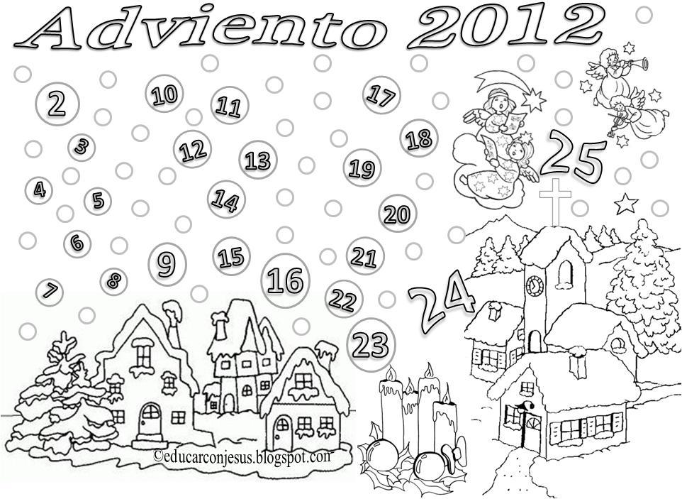 Calendario de adviento para colorear 2014