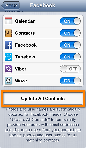 update ios contacts with facebook info