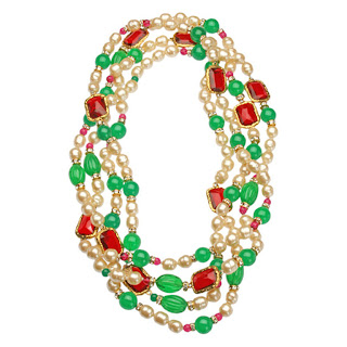 Vintage 1980's Chanel pearl necklace with red and green rhinestones.