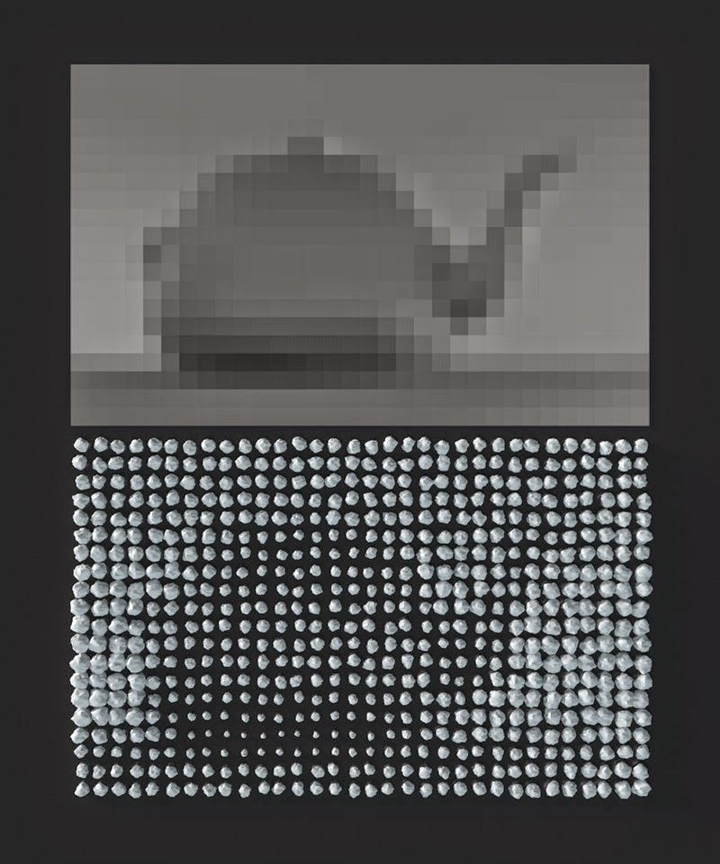 Displaying raster image data with a set of pebbles