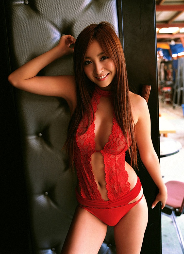 Aya Kiguchi in Sexy Red Lingerie