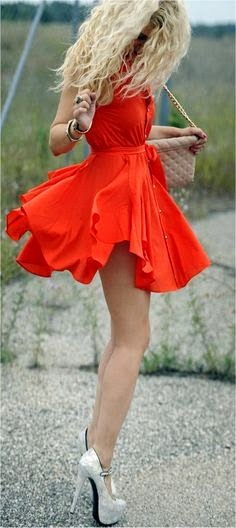 Cool mini red dress with white high heels