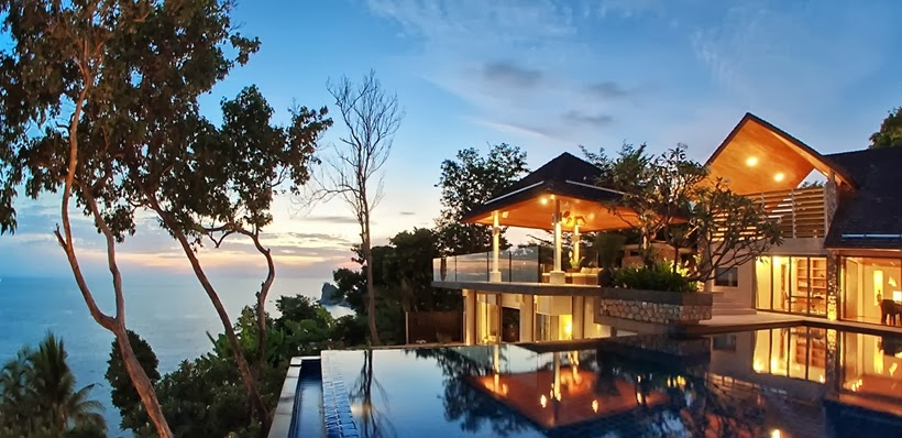 Ocean from the Villa with contemporary Asian design