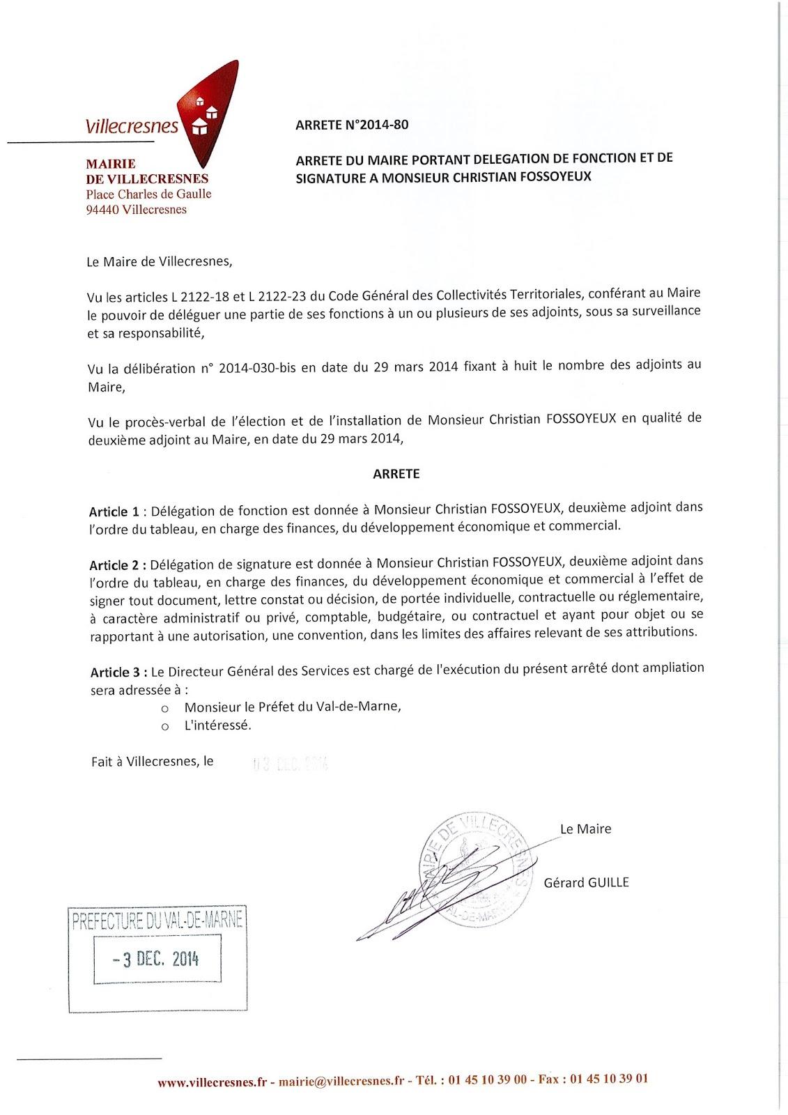 2014-080 Délégation de fonction et de signature à Monsieur Christian Fossoyeux