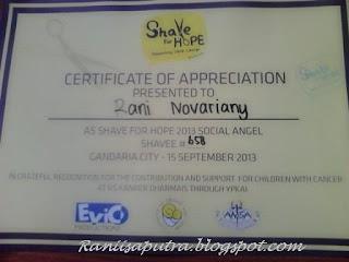 sertifikat dari Shaveforhope