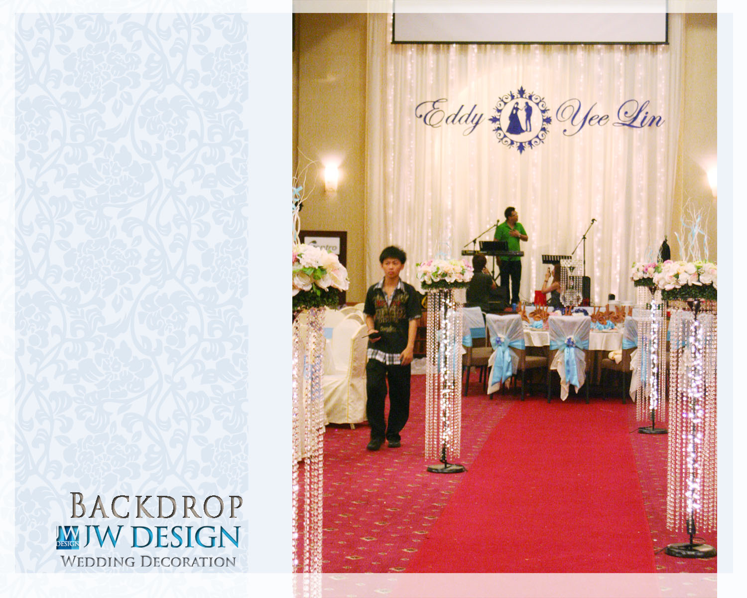 Jw design wedding decoration march 2012 eddy yee lins wedding blue vintage decoration junglespirit Gallery