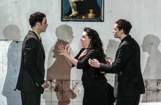 ENO Rodelinda Christopher Ainslie, Rebecca Evans, Matt Casey photo Clive Barda.