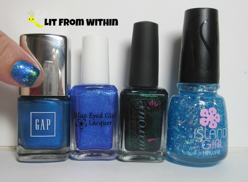 Bottle shot:  GAP Sparkling Sea, Blue-Eyed Girl Lacquer 2014, Colors by Llarowe Behead The Drama Queen, and Island Girl Hawaiian Girl.