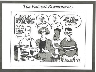the federal bureaucracy A bureaucracy is a type of large scale organizing, that normally refers to the government it is a way of managing large numbers of people, that all need to.