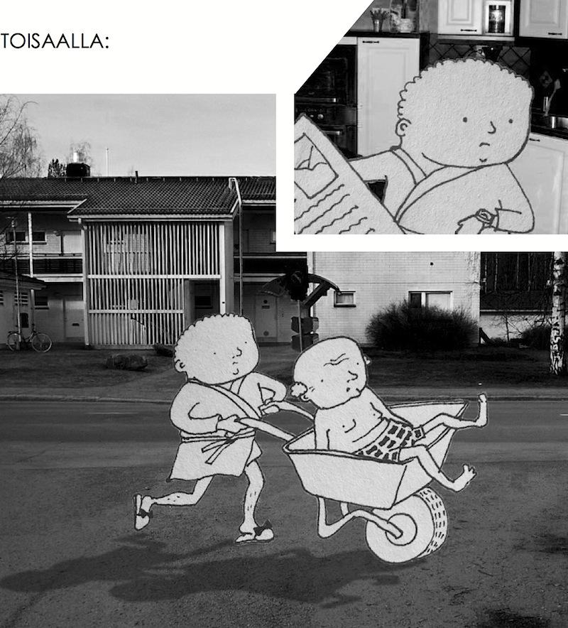 taideprojekti tty arkkitehtuuri ikäjäte sarjakuva