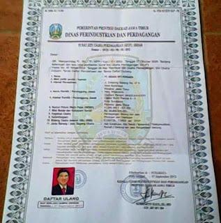 Surat izin Usaha Perdagangan (siup) palsu