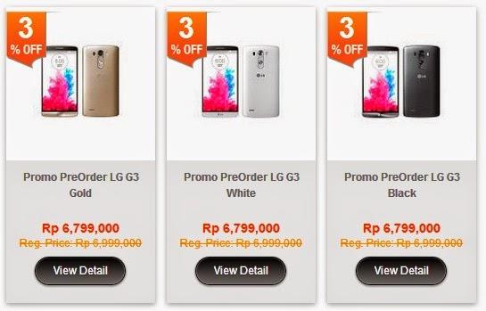 Pre-Order LG G3 di blibli com paket Regular Rp 6.799.000 (Rp 566.583 x 12)