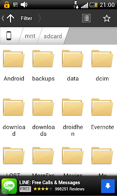 Astro File Manager - Showing contents of the SD card