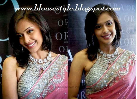 Bollywood actress jewelled stone work  front neck blouse